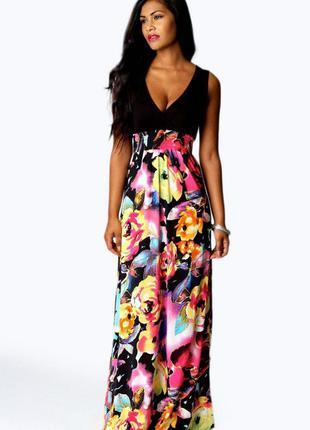 Красивое длинное женское платье, сарафан в цветочный принт boohoo