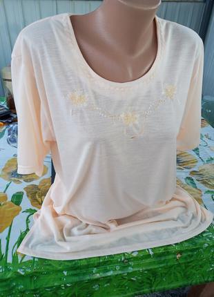Женская футболка персиковый цвет100%котон