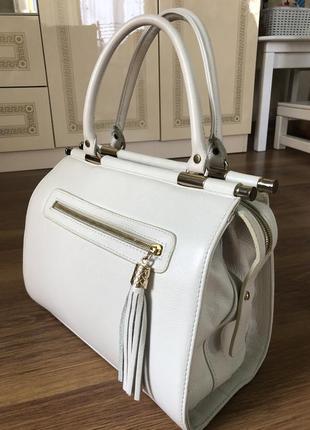 Шкіряна біла сумка