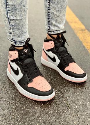 Женские высокие кроссовки nike air jordan 1 retro pink