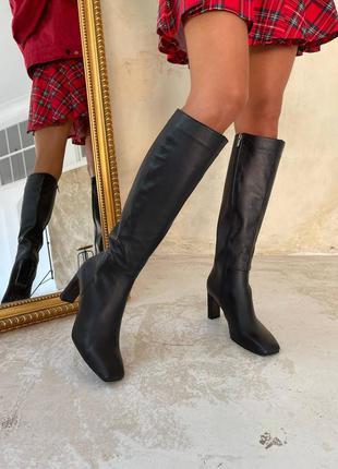Шкіряні сапоги високі осінні зимові кожаные сапоги осень зима