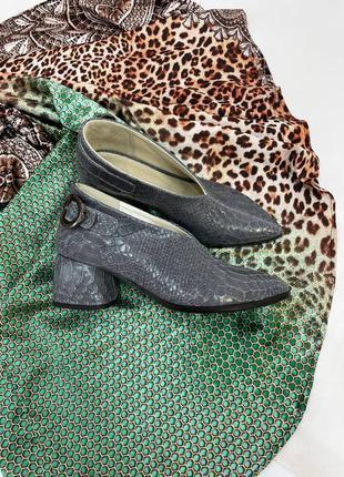 Шкіряні туфлі закриті рептилія кожаные туфли
