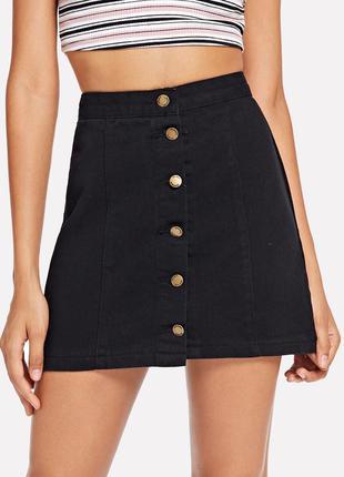 Чёрная джинсовая юбка спідниця джинсова