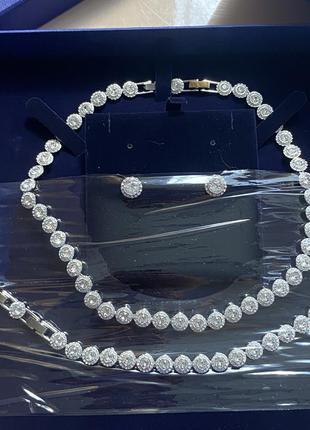 Набір swarovski сережки, кольє, браслет