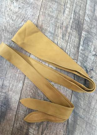 Винтажный длинный пояс кушак кожа genuine leather англия