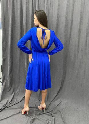 Синее шёлковое вечернее платье миди с открытой спиной шёлк