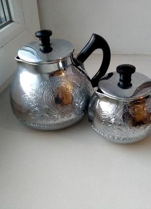 Набор чайников из мельхиора времен ссср
