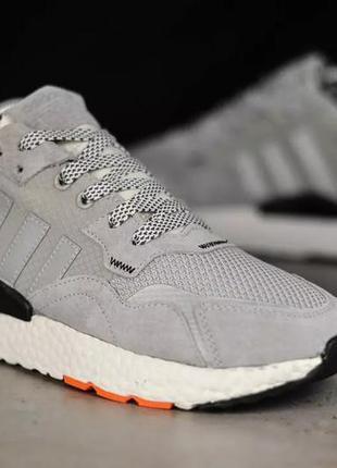 Чоловічі кросівки adidas nite jogger рефлективні  (світло / сірі) демосезонні