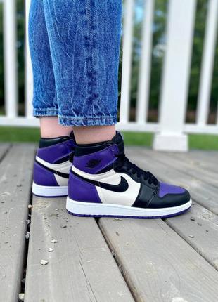 ❤ женские фиолетовые кожаные кроссовки  nike air jordan retro 1 ❤