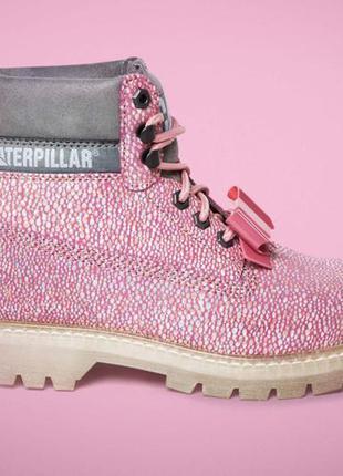 Новые кожаные ботинки caterpillar бант съёмный розовые оригинал