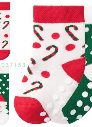 Детские носки новогодние махровые антискользящие комплект 2 пары lupilu германия 19-22, 23-26, 27-30