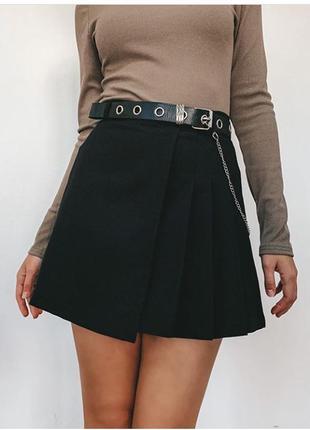 Модная женская черная юбка тенниска с поясом s,m