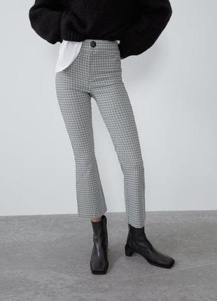 Серые белые брюки в клетку сірі білі штани штаны