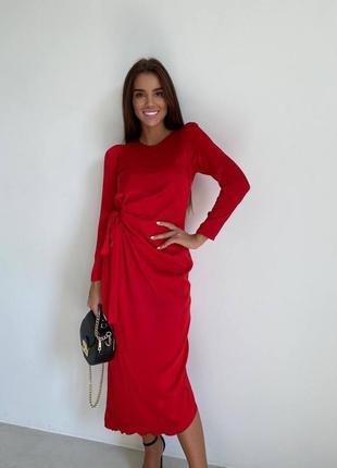 Красное шёлковое платье миди