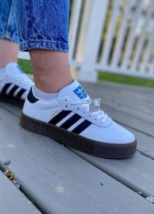 ❤ женские белые кожаные кроссовки adidas samba   ❤