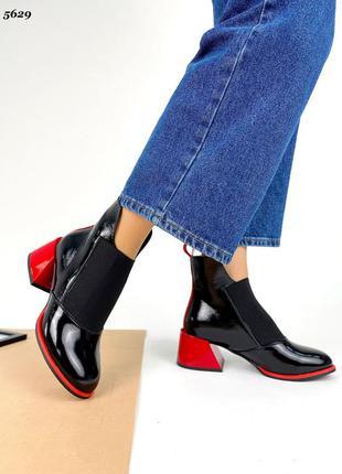 ❤ женские черные кожаные осенние демисезонные ботинки ❤3 фото