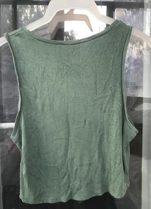 Топ женский хаки зелёный в рубчик s m l 46 размер3 фото