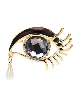 Брошь, брошка-кулон глаз с подвеской слезой, металл, эмаль, стразы.