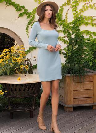Женское однотонное трикотажное короткое платье с длинным рукавом голубое хаки лиловое чёрное