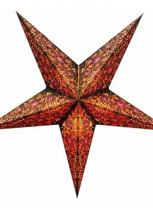 Картонная индийская звезда-светильник 5 лучей для декора дома ручная работа+подарок