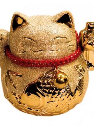 Статуэтка счастливый кот - копилка манеки неко в золоте №1