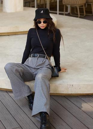 Стильный образ, комплект, лук (брюки + гольф + ремень)