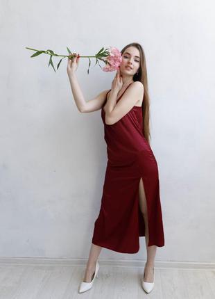 Платье-комбинация марсал