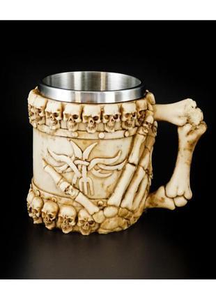 Чашка кружка из камня полистоун и нержавеющей стали черепа