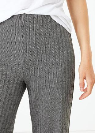 Модные широкие трикотажные брюки в елочку р.12