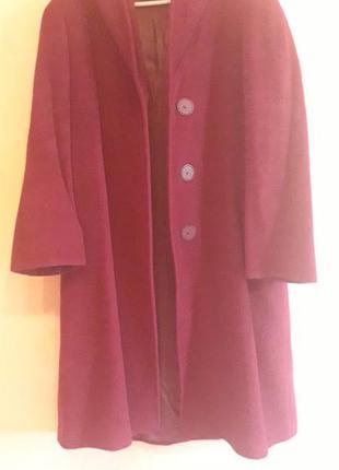 Супер шерстяное пальто бордового цвета