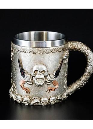 Чашка из полистоуна и стали череп пирата кружка каменная + подарок