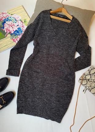 Платье тёплое brave soul london акрил серое осеннее зимнее офисное вязанное