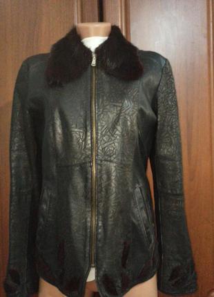 Кожанная куртка демисизоная ворот  нутрия1 фото