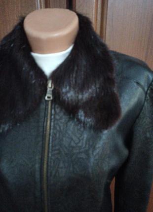Кожанная куртка демисизоная ворот  нутрия2 фото
