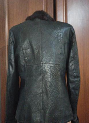 Кожанная куртка демисизоная ворот  нутрия3 фото