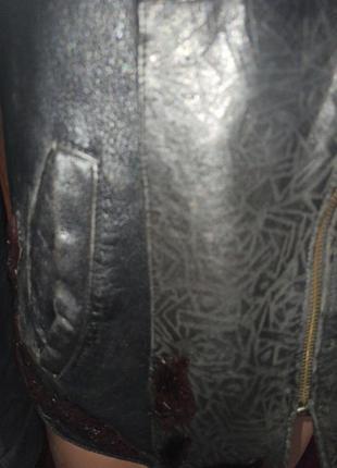 Кожанная куртка демисизоная ворот  нутрия4 фото