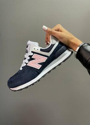 Женские кроссовки new balance 574 blue/pink