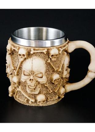 Кружка из полистоуна и стали черепа каменная чашка + подарок