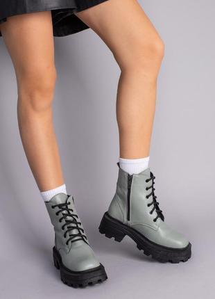 Ботинки женские кожаные цвета хаки
