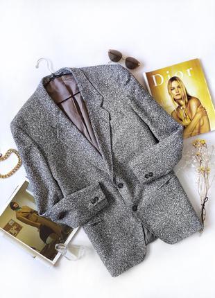 Пиджак оверсайз белый с черным букле винтаж шерсть в составе