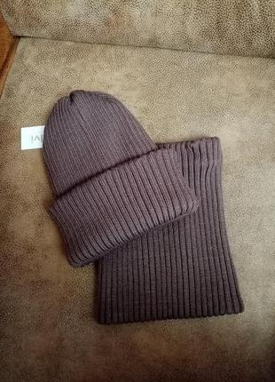 Набор ❄️ зимний шапка+хомут в рубчик шоколад р. 50-58
