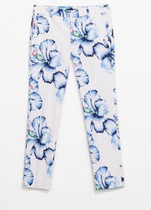 Белые брюки в цветочный принт zara zara