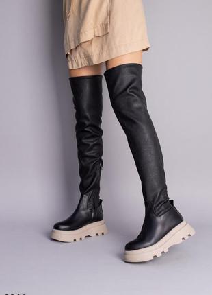 Сапоги-чулки женские кожаные черные на бежевой подошве