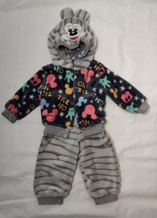 Теплый плюшевый костюм на девочку 74-80см турция