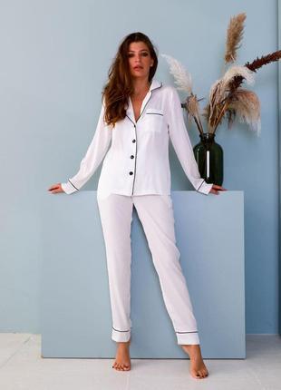 Женская пижама шелк армани jesika рубашка и штаны белая