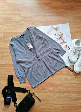 Женская новая нарядная брендовая серая кофта - кардиган с люрексом jasper conran - размер 46