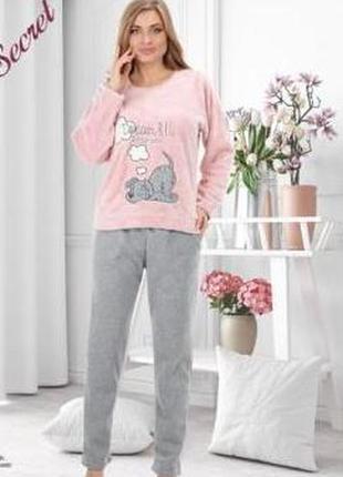 Комплект женский для дома и отдыха кофта софт, штаны флис турция s,m,l,xl, розовый