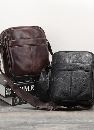 Мужская кожаная барсетка сумка на плечо чёрная сумка планшет на каждый день чоловіча сумка барсетка натуральна шкіра