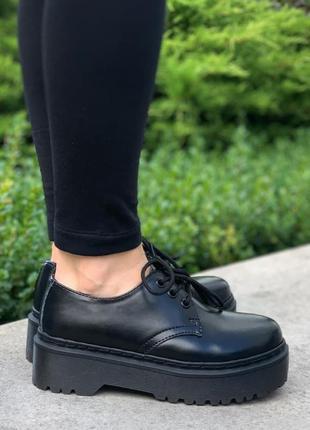 Туфли женские dr. martens 1461 mono black platform черные (доктор мартинс, туфлі мартенс)
