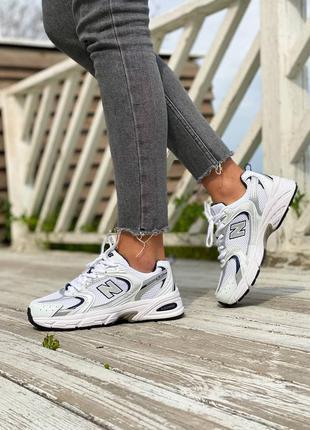 New balance nb 530 white silver  кроссовки нью баланс наложенный платёж купить
